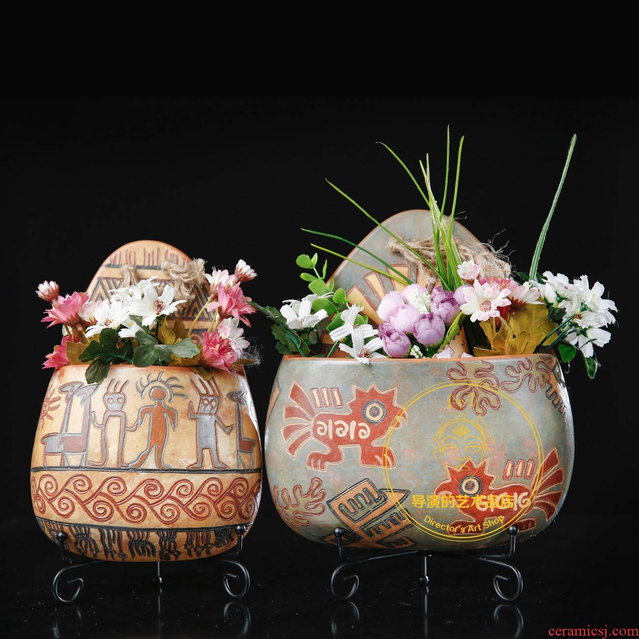 Maya Indian culture in South America Peru ceramics flower basket vase is placed pendant checking soft decoration