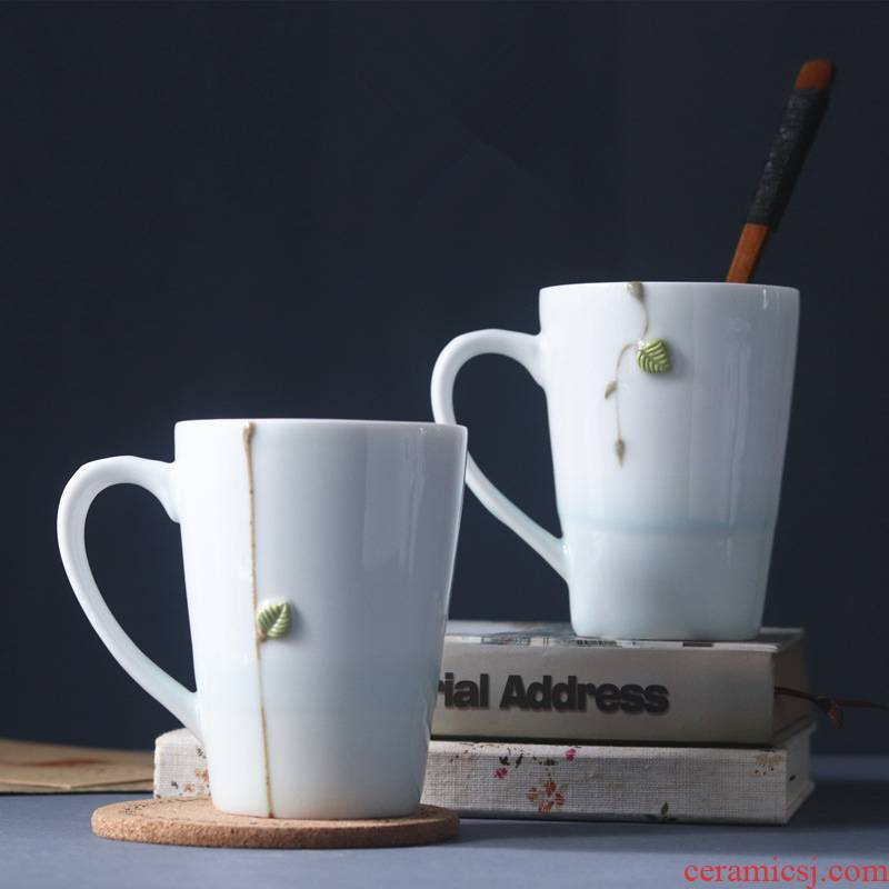 Small pure and fresh and ceramic manual take mark cup stars light creative little green leaves 3 d coffee cup water