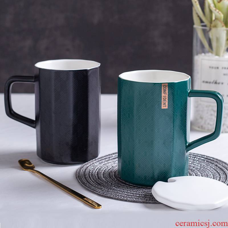 Creative Nordic INS ceramic cup, water mark cup with cover spoon move trend of men and women lovers coffee cup home