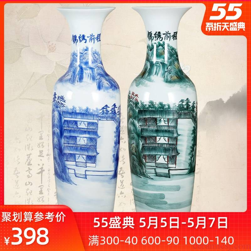 Jingdezhen ceramics landing large sitting room in blue and white porcelain vase hand - made bright future hotel furnishing articles for the opening