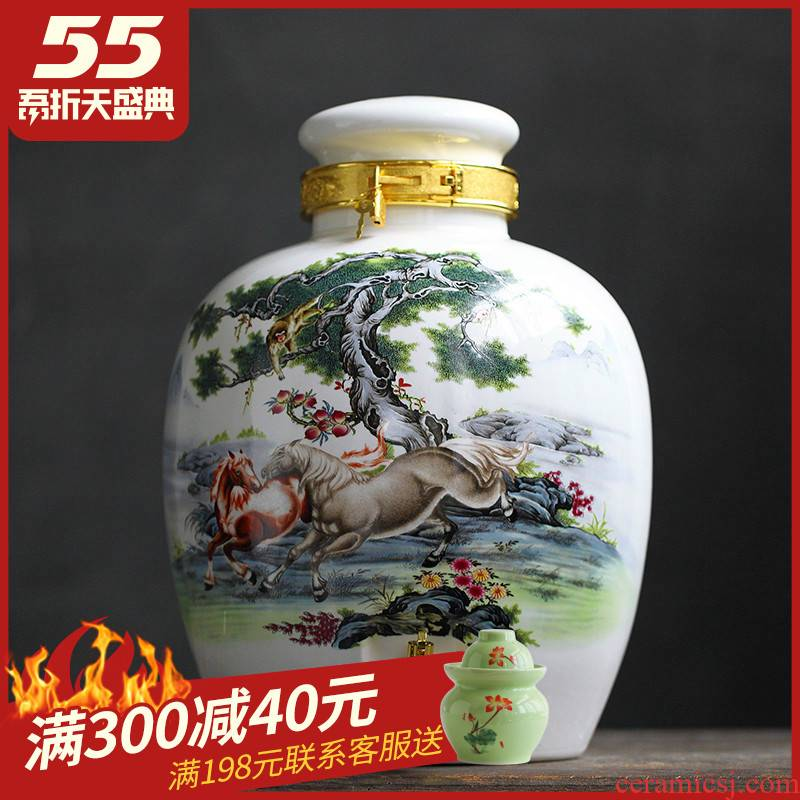 Jingdezhen ceramic jars 10 jins 20 jins 30 jins of ipads China wine jar it seal pot with leading domestic