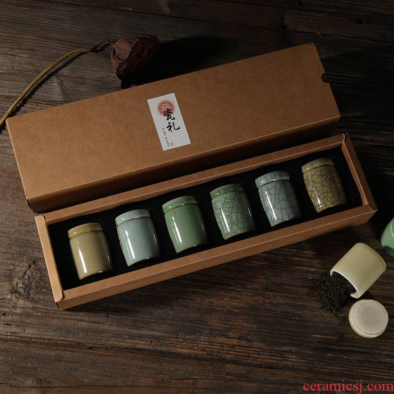 Poly real scene celadon mini caddy fixings work save small POTS ceramic POTS seal tea boxes