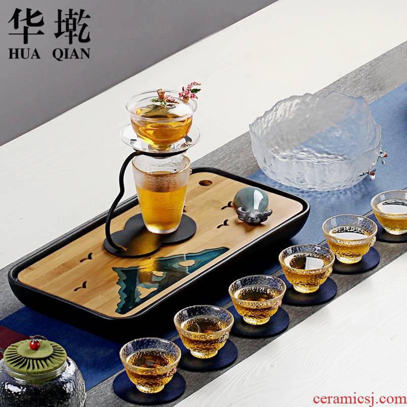 China automatic Qian household heat - resistant glass tea set creative stone mill hot tea. Preventer contracted kung fu tea set