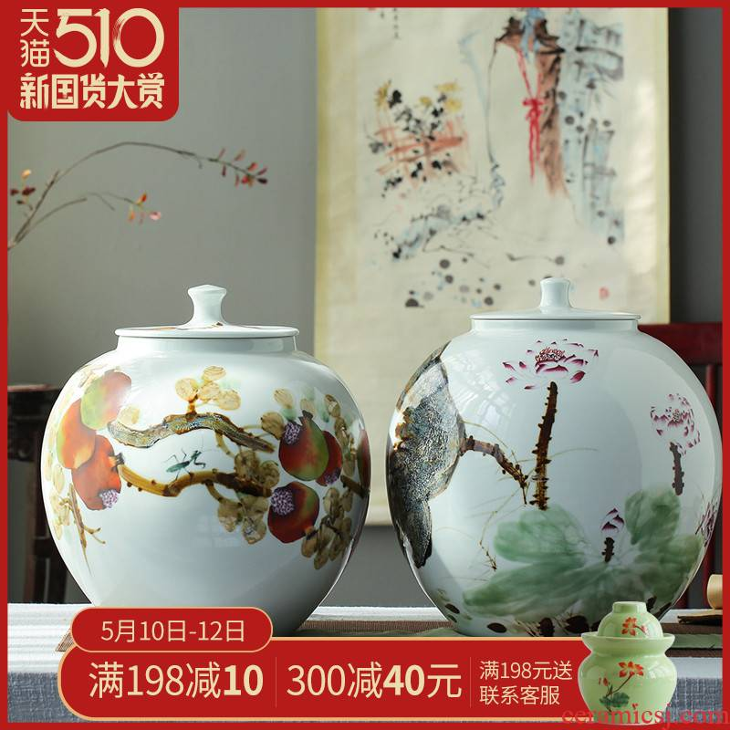 Hand - made jingdezhen ceramic barrel ricer 40 kg box pack household moistureproof cylinder cylinder tank storage rice jar with cover