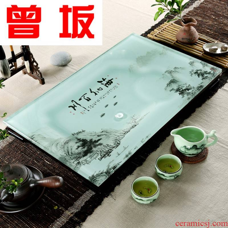 Once sitting home to I and contracted rectangular toughened glass tea tray was suit coloured glaze ceramic kung fu tea tea
