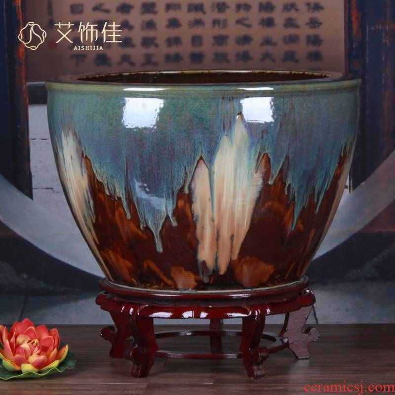 Ceramic aquarium home sitting room color glaze up lions ears size aquarium plant pot garden decoration