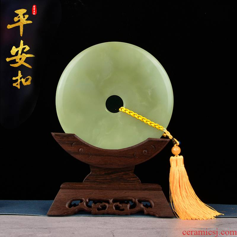 Jade buckle, the sitting room porch ark peace rich ancient frame custom gift furnishing articles of new Chinese style adornment wood base
