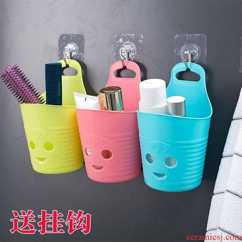 Small dormitory bathroom hanging receives hanging basket basket hanging basket shelf plastic basket chopsticks tableware cage in the kitchen