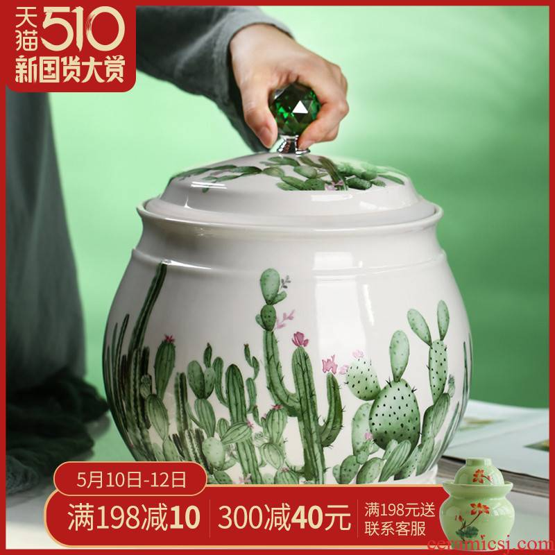 Jingdezhen ceramic barrel meter box ricer box 7 kg15 jin northern wind moistureproof insect - resistant sealed tank flour home