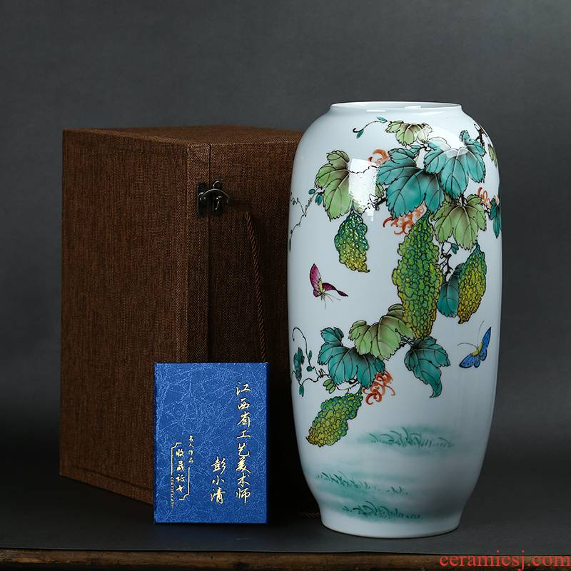 Jingdezhen ceramics by hand draw pastel after large vases, Chinese style living room decoration study furnishing articles