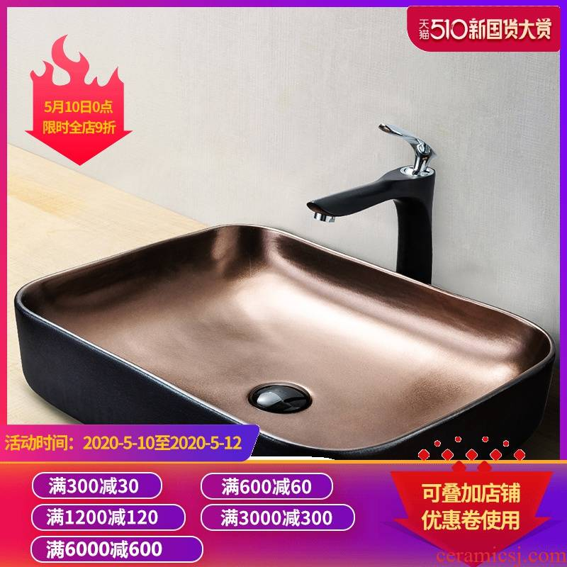In gold, black art square toilet stage basin on its outside lavatory sink basin of single household ceramics