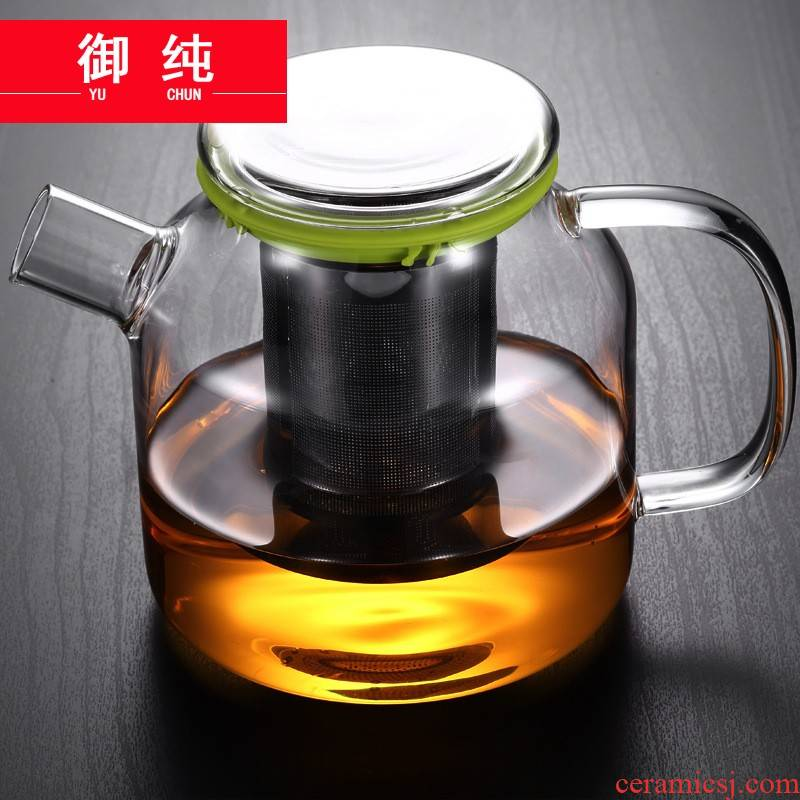 Royal pure teapot household stainless steel, high temperature resistant glass teapot cool water filter flower pot