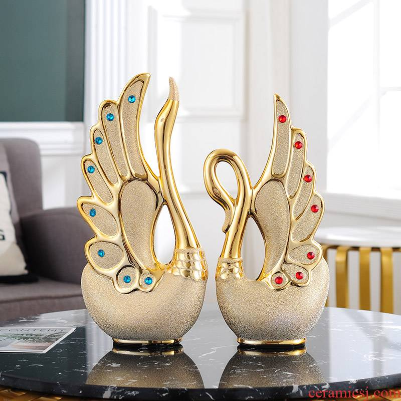 Couples swan furnishing articles gold - plated frosted set auger ceramics handicraft home sitting room TV ark adornment ornament