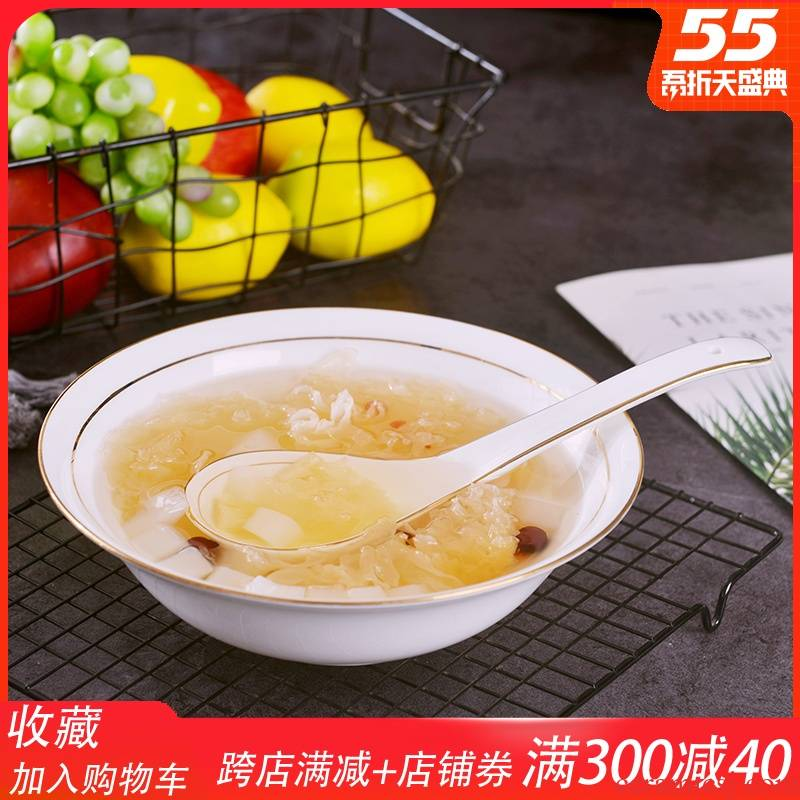 Jingdezhen European - style up phnom penh ipads China big bowl of household large ceramic bowl of a single circular soup basin can match the big spoon
