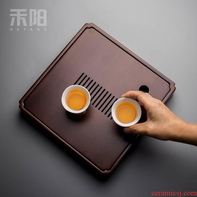 Send Yang tea tray bamboo sea water tea tea table saucer kung fu tea set solid wood, bamboo, small tray bearing kettle