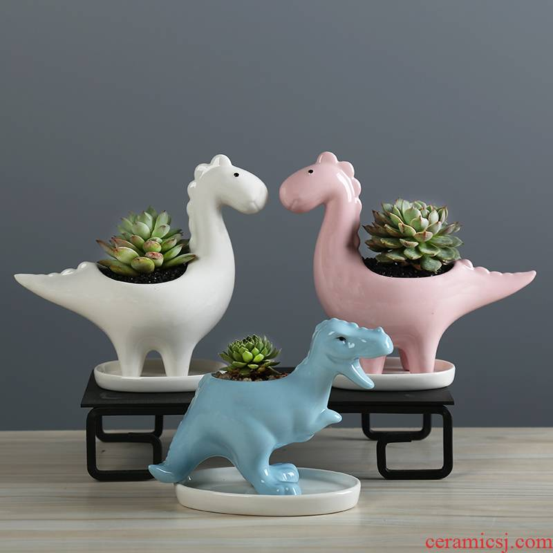 Contracted and creative move and lovely old running of meat flowerpot desktop trumpet with tray was the plants more white basin ceramic breathe freely