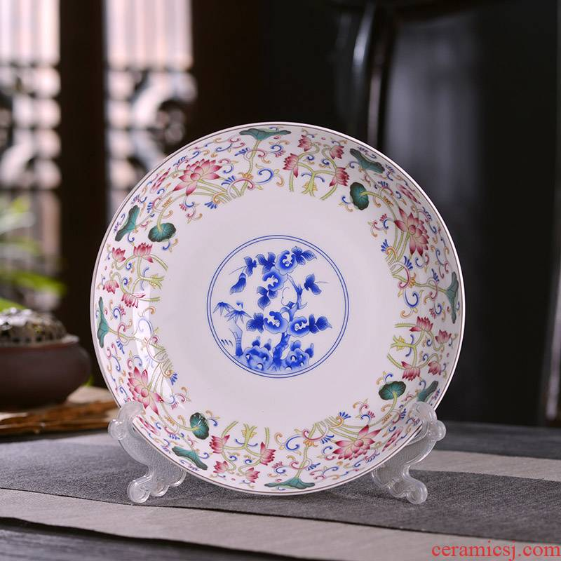 6/7/8/10 inches deep dish dish dish Chinese style household ipads porcelain of jingdezhen ceramics flat plate deep litter tray