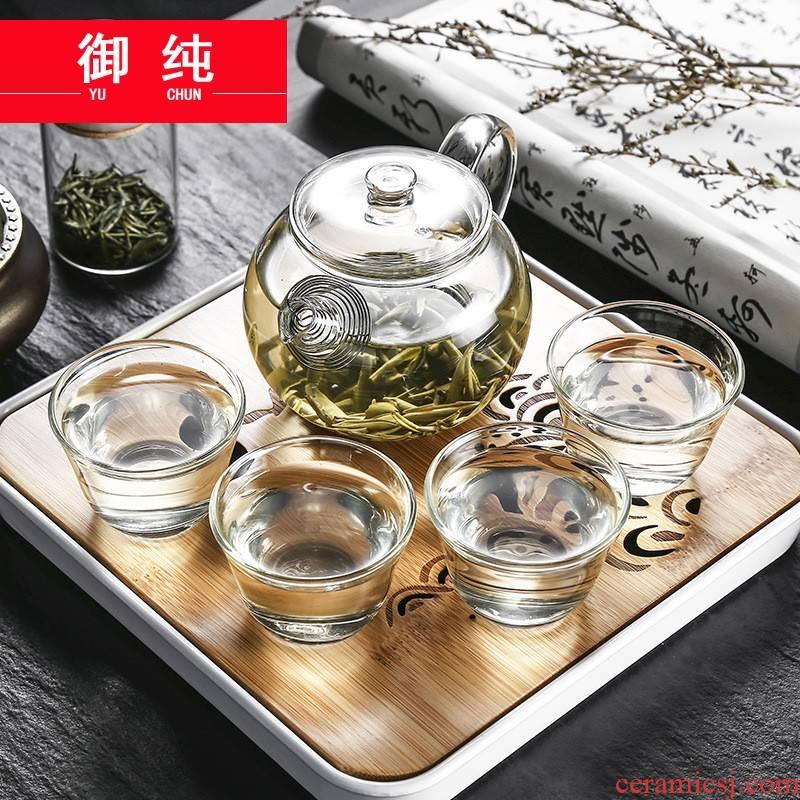 Royal pure travel tea set suit portable package mini portable car is suing tourism glass kung fu tea set