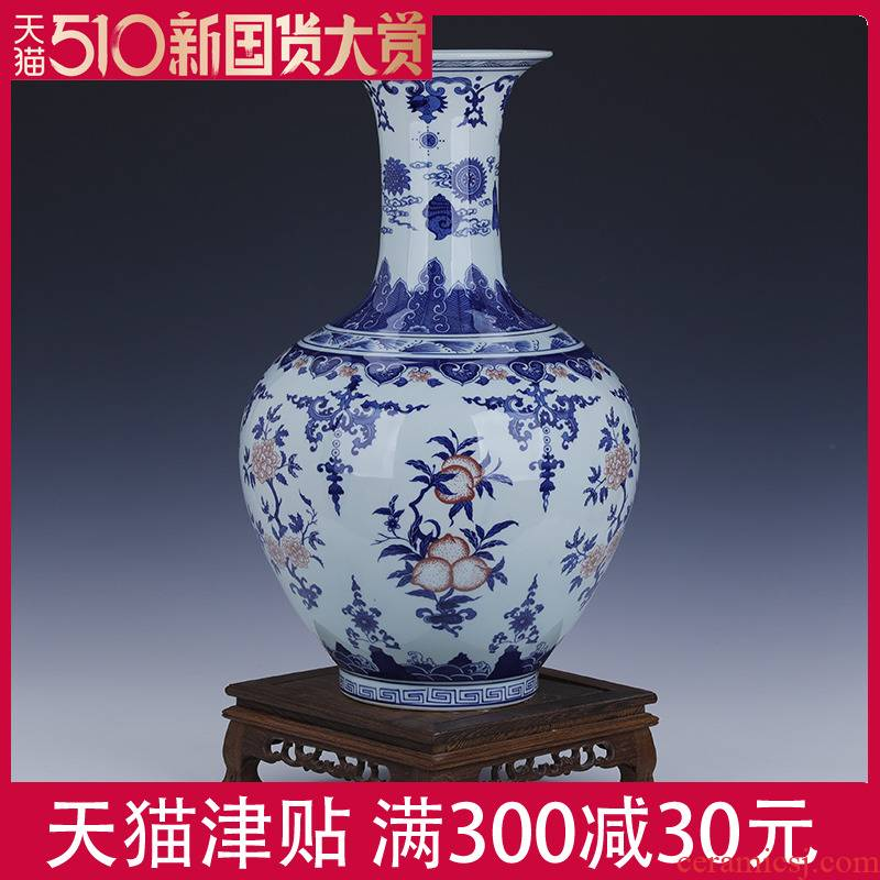 Classical porcelain of jingdezhen ceramic large blue and white porcelain vase 4050 cm high archaize furnishing articles sitting room of Chinese style style