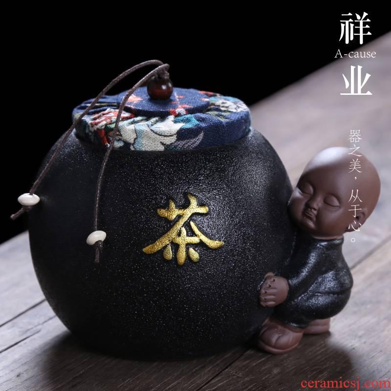 Auspicious industry ceramic seal tea pot restoring ancient ways employed in domestic large tea accessories moisture storage POTS