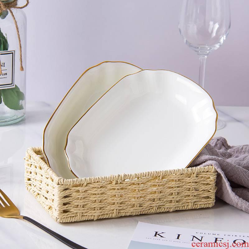 Korean up phnom penh ipads porcelain plate rectangular strip plate ceramic snack plate dinner plate creative snack food dish