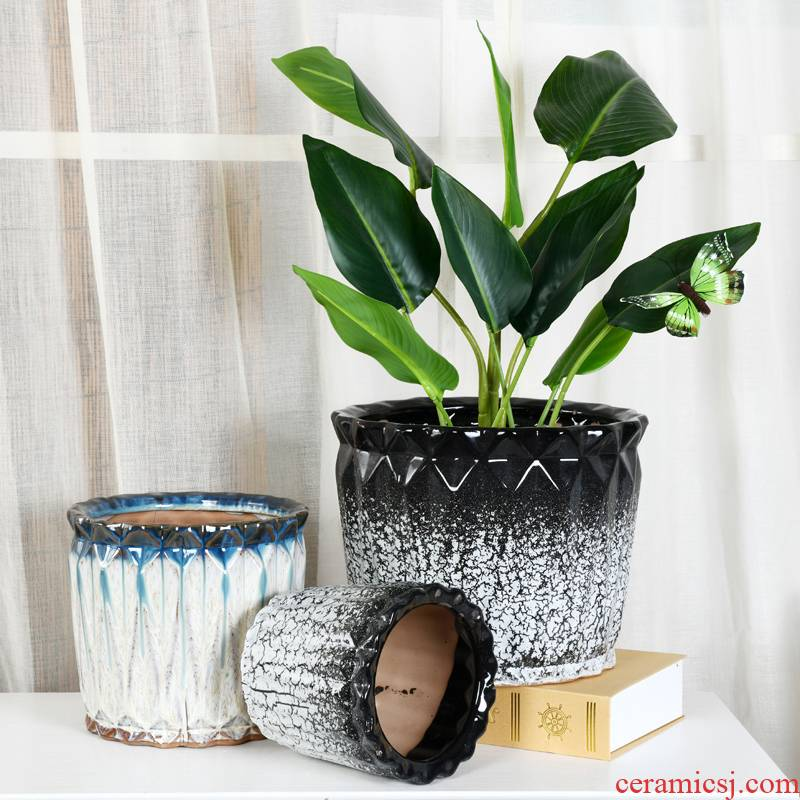 Extra large wholesale ceramic flower pot home office creativity ground tiger orchid rich tree green plant pot bag in the mail