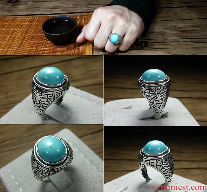 Turquoise ring undressed ore without optimization high porcelain Turquoise, men and women with 925 silver pendant earrings