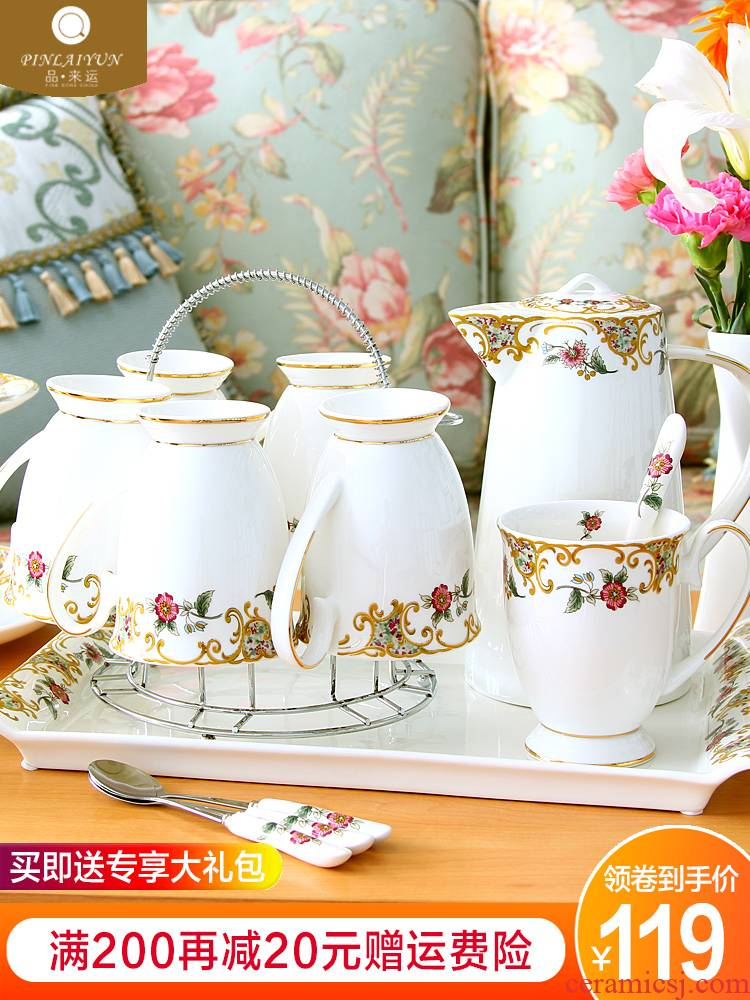 Cup with a suit of household light key-2 luxury ceramic keller Cup keller suit heat - resisting teapot home European sitting room