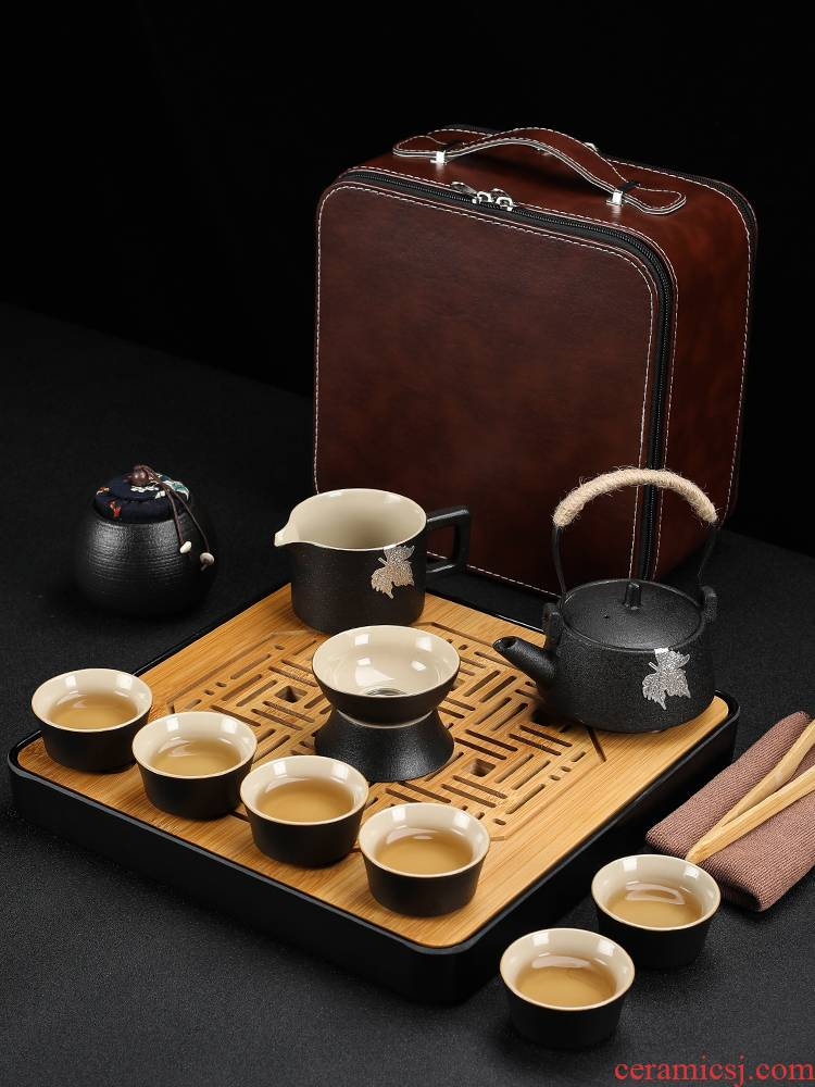 Poly real (sheng Japanese kung fu tea set of black suit household contracted ceramic teapot teacup tea tea tray of a complete set of travel