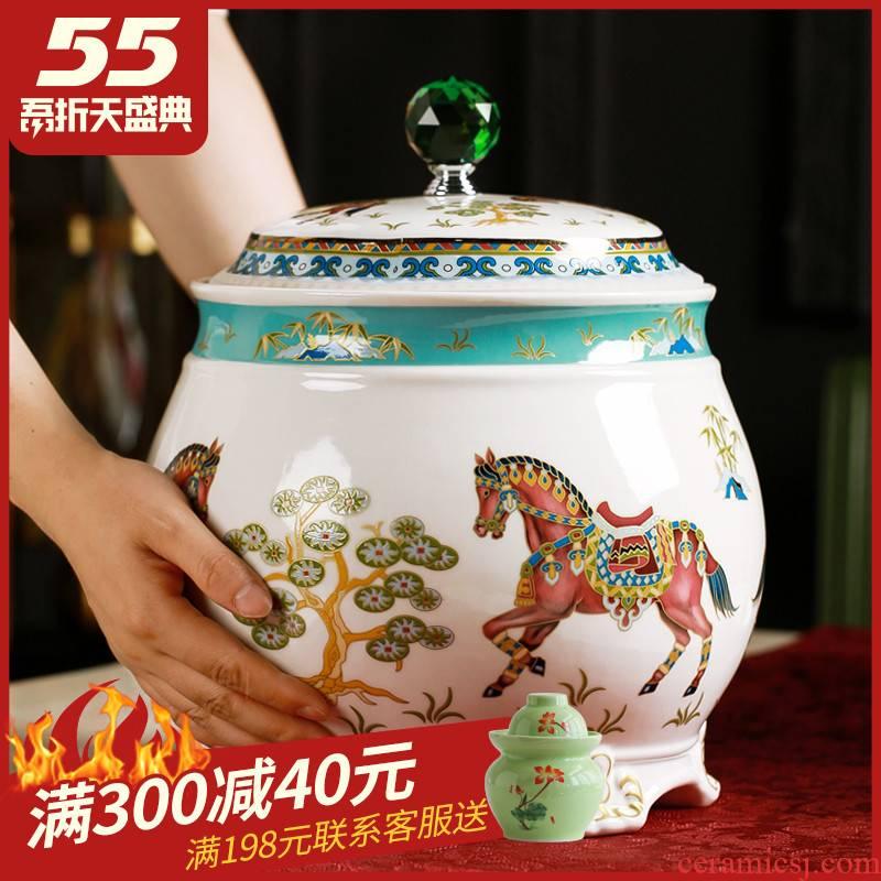 Jingdezhen ceramic barrel household northern wind meter box ricer box insect - resistant flour storage tanks seal 15 kg