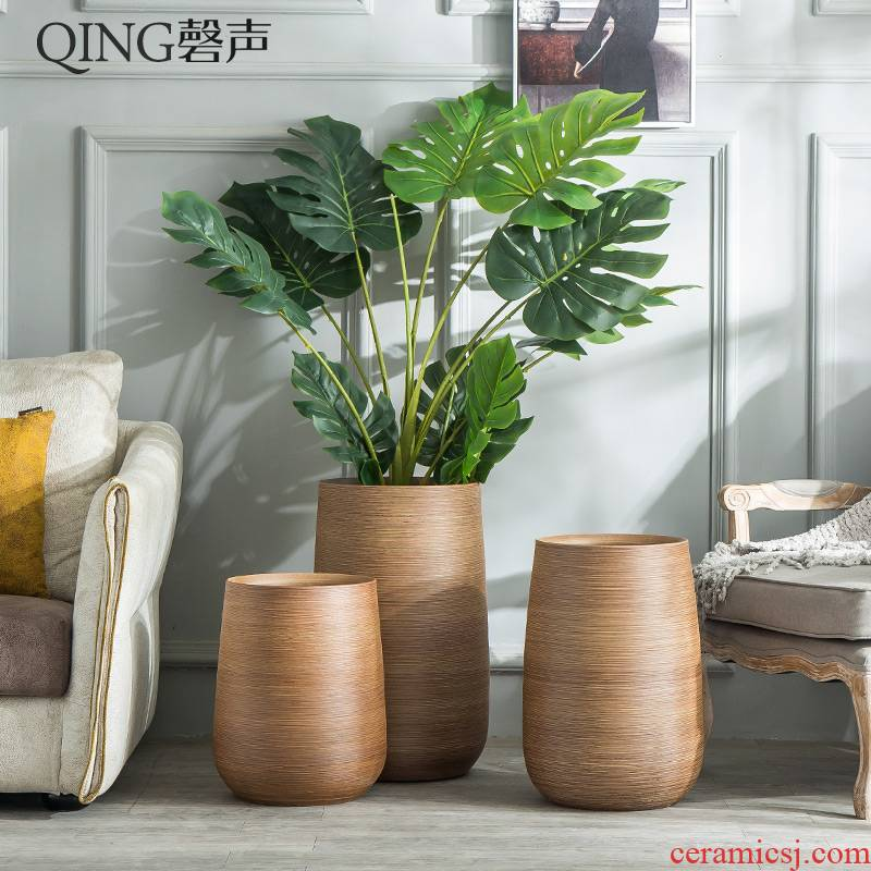 Decoration to the hotel villa large vase furnishing articles sitting room ground flower arranging the Nordic creative green plant ceramic flower pot cylinder