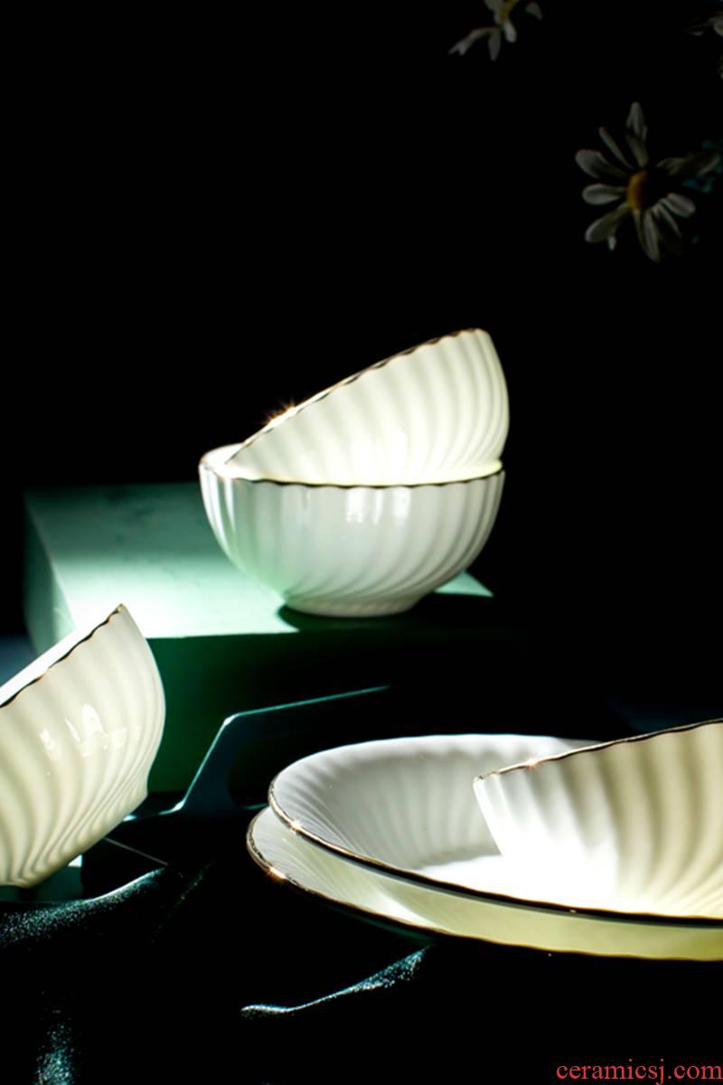 Ipads China tableware suit Nordic creative household dish dish pure white light up phnom penh key-2 luxury combination of jingdezhen ceramic bowl chopsticks