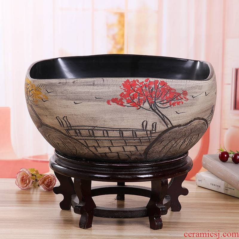 Jingdezhen ceramic aquarium desktop furnishing articles large turtle pond lily goldfish bowl lotus feng shui basin square tank