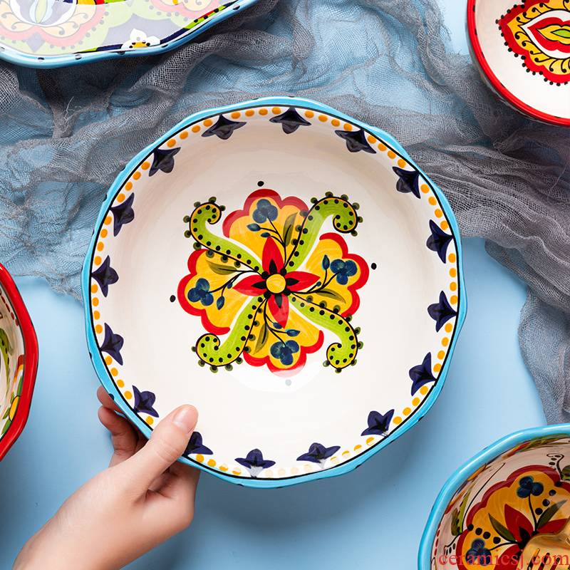 Ceramic bowl individual household individuality creative job rainbow such as bowl bowl of salad bowl upset lovely breakfast bowl of cereal bowl
