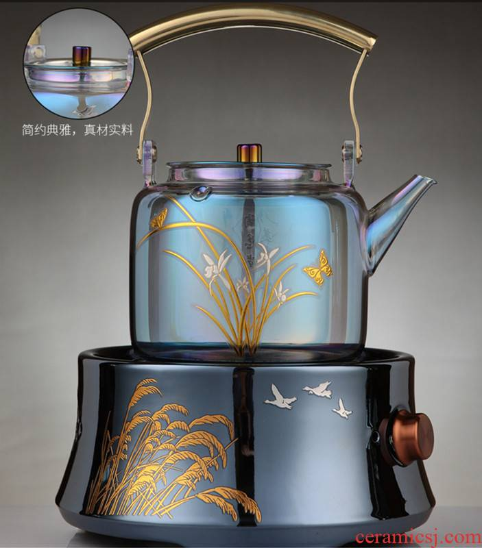 The Heat - resistant glass shell color burn renewal pot the boiled tea, the electric TaoLu steamed tea kettle small black tea tea