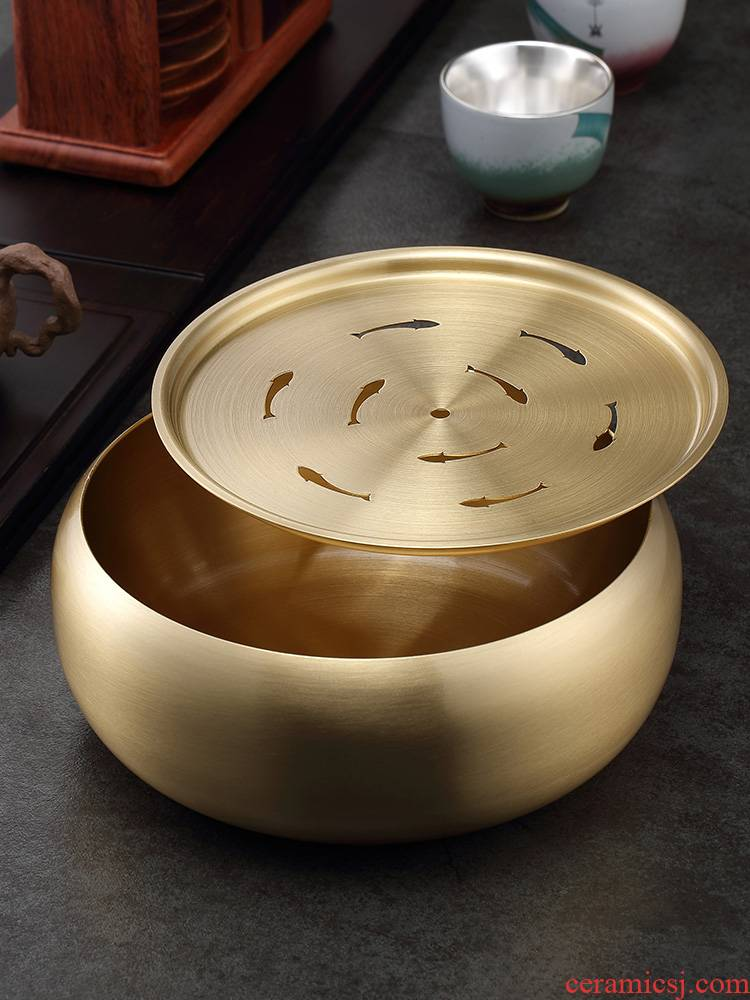 Morning high pure copper kung fu tea tea tray was Japanese tea sea small household dry mercifully tea wash to king with cover
