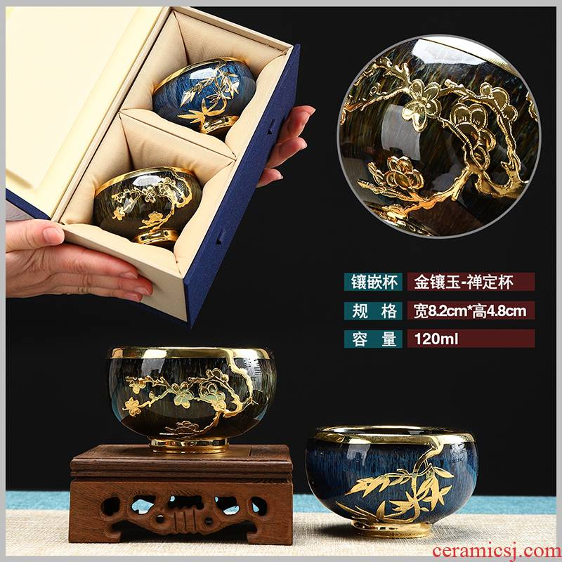 Recreational product an inset jades built light red glaze ceramic sample tea cup pure manual obsidian drawing master kung fu tea cup