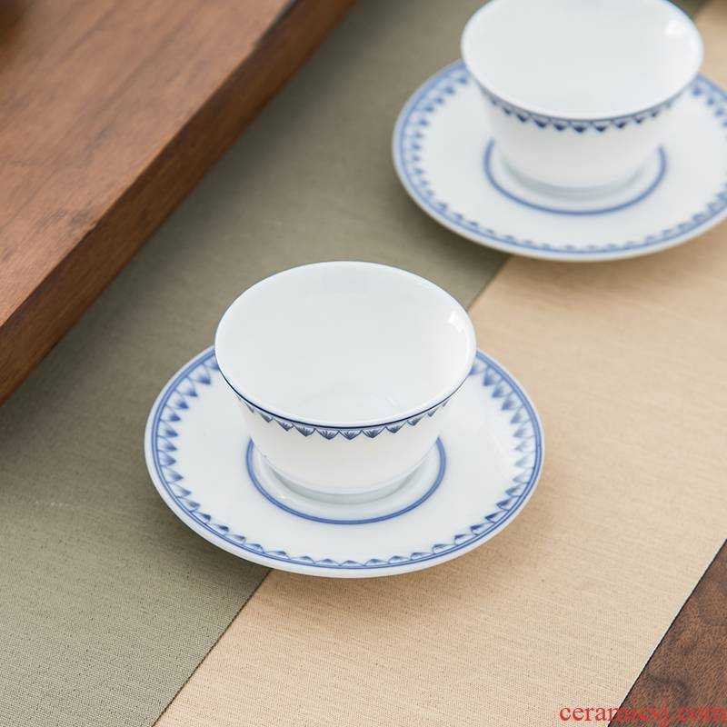 Qiu time ceramic blue green cup mat jade porcelain Japanese insulation pad kung fu tea tea accessories