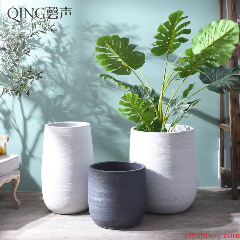 Nordic flowerpot vase I and contracted white black ceramic green plant hydroponic POTS of large diameter cylinder plant decoration