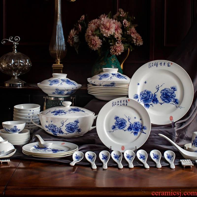 Finger painting red xin jingdezhen blue and white Chinese style 80 skull bowls of blue and white porcelain plate tableware suit