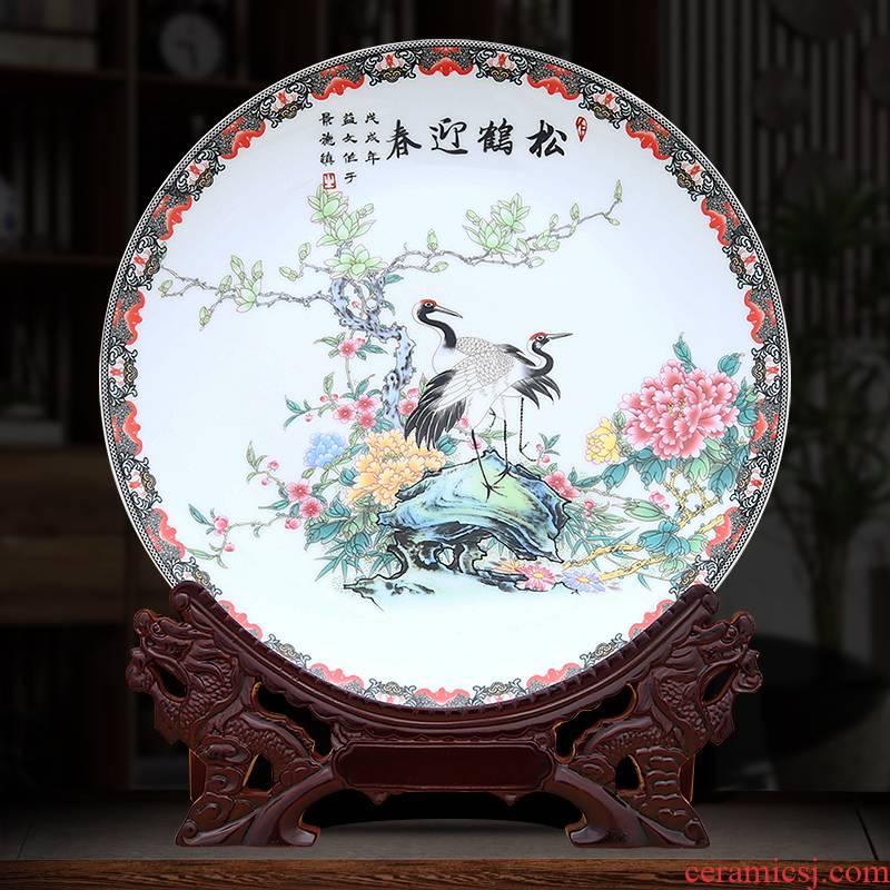 Pine crane, winter jasmine decorative plate to industry
