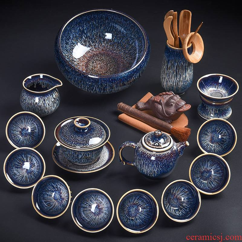 Tao blessing, jingdezhen blue drawing to build light tea set household with silver star light teapot teacup silver tea set