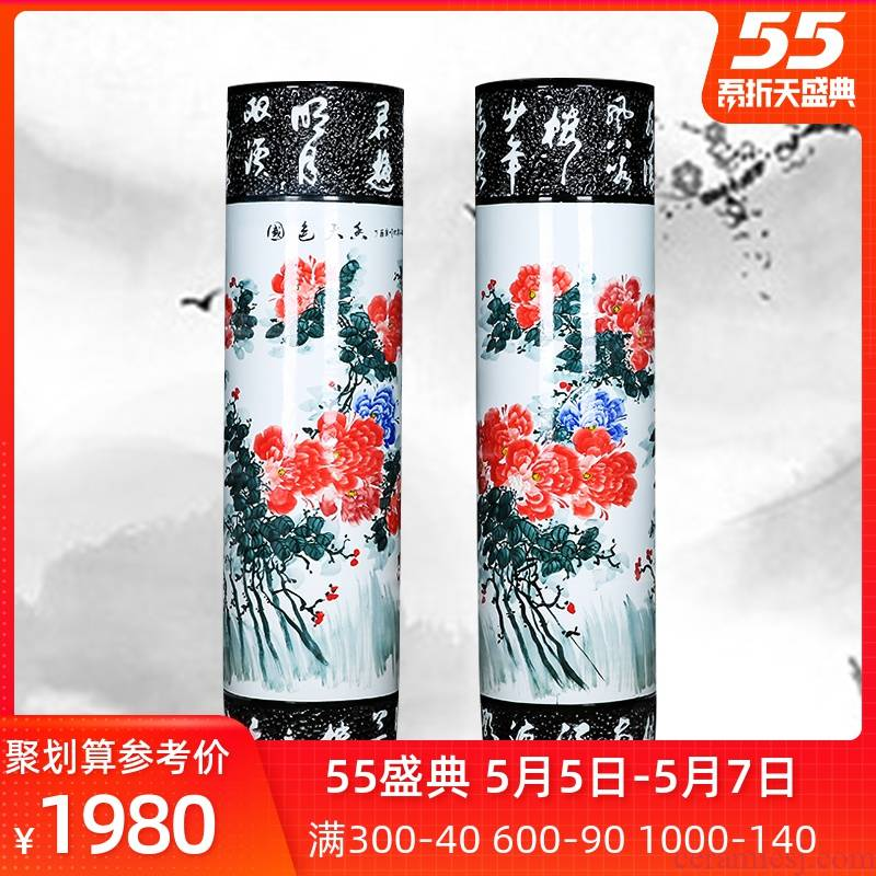 Jingdezhen ceramic quiver hand - made peony of large vases, sitting room of Chinese style household furnishing articles opening housewarming gift