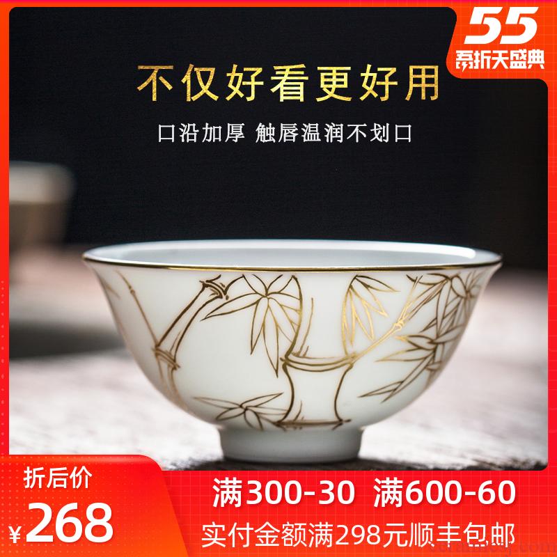 Pure manual white porcelain jingdezhen ceramic cups large single master cup Pure hand - made kung fu tea sample tea cup