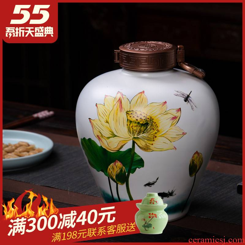 Ceramic bottle 5 jins of decorative archaize home wine bottle is empty pot special seal wine jars jugs celadon