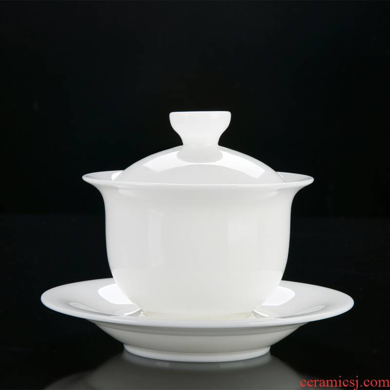 Xu dehua suet jade porcelain ink only three tureen kung fu tea set ceramic cups white porcelain bowl with household single thin