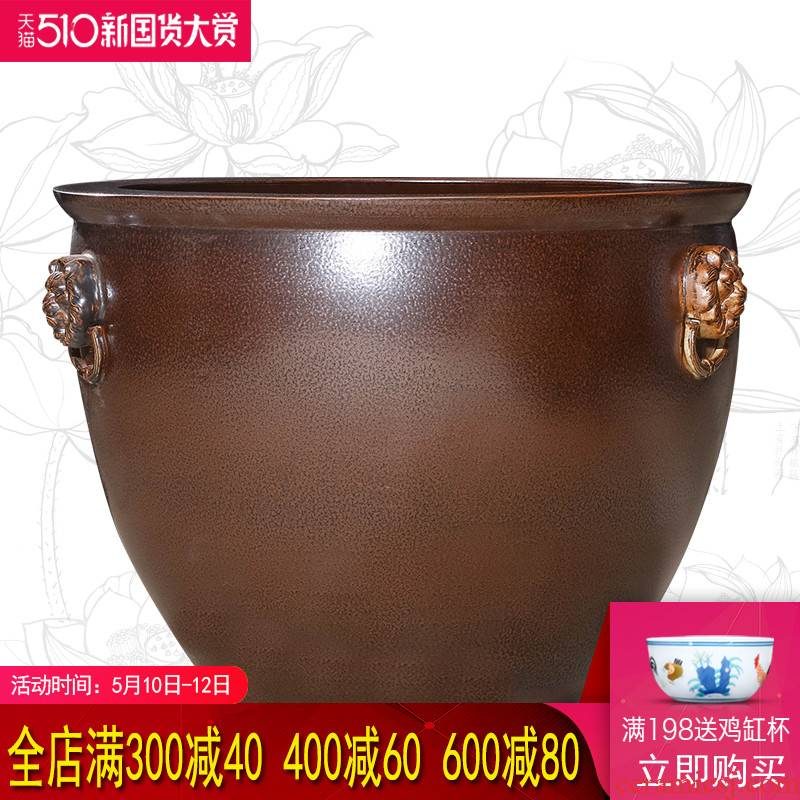 Restoring ancient ways of jingdezhen ceramic aquarium large tank sitting room is suing garden water lily basin bowl LianHe cylinder goldfish bowl