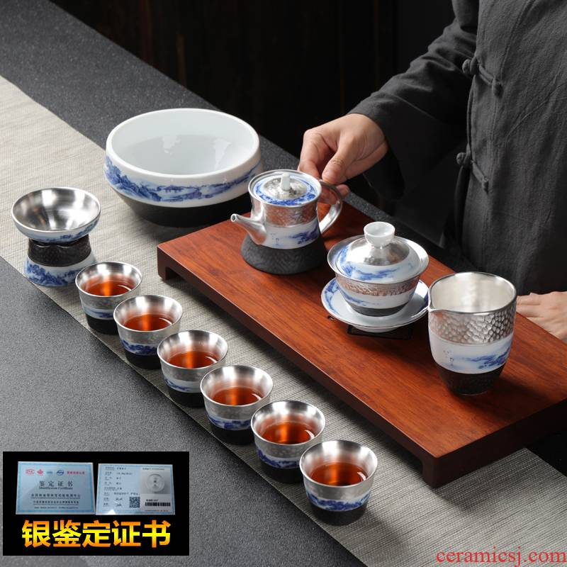Jingdezhen ceramic coppering. As silver tea sets, 999 sterling silver tea set kung fu tea cups of a complete set of the home office