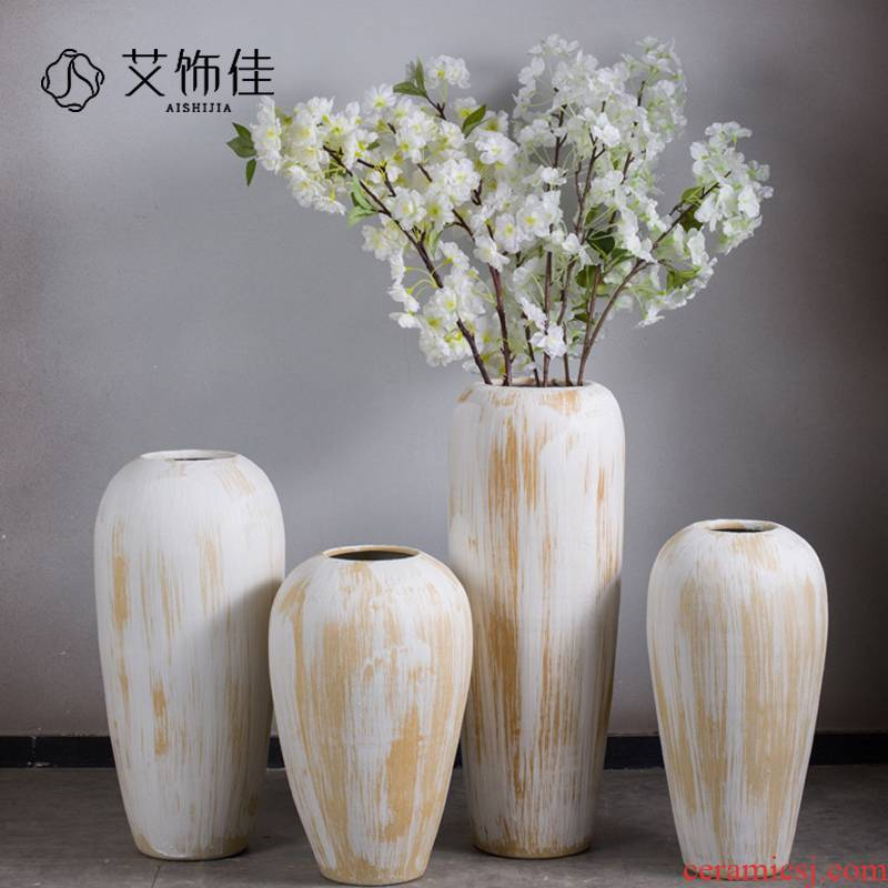 Clay coarse pottery white vase sitting room hotel villa hydroponic home decoration ceramic jar window furnishing articles