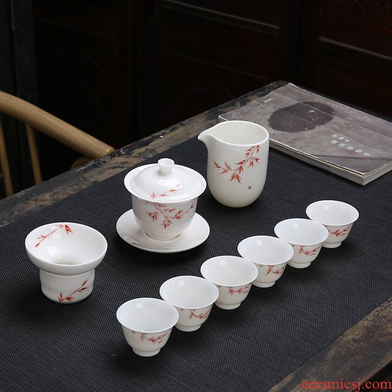 Back at dehua white porcelain household suet jade porcelain of a complete set of kung fu tea sets tea teapot teacup